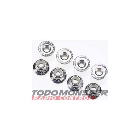 Traxxas Nuts 4mm Flanged Nylon Locking Steel (8)