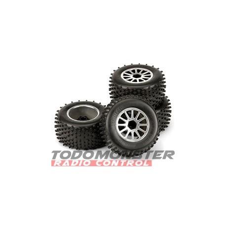 Basher Tires Pin Head Mounted Chrome Traxxas Rustler/Stampede/Ja