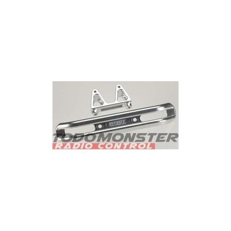 Integy EVO3 Front Bumper w/Mount Silver Revo 3.3